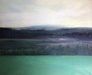 Widok na Wołowice;akryl na płótnie,60x73